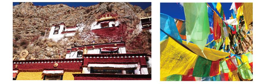 【タルチョ五色の祈祷旗】 青・白・赤・緑・黄の順に並んでいてそれぞれが天・風・火・水・地を表しています。