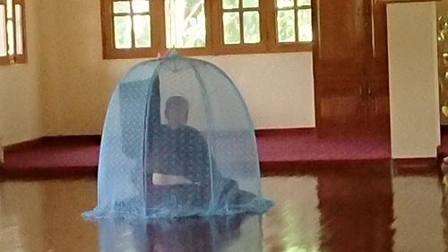 蚊帳の中に入って瞑想しています。一日8時間以上瞑想されています。